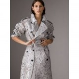 BURBERRY Laminated Lace Trench Coat in Pale Grey | luxe coats