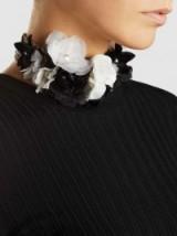LANVIN Gold-Tone Monochrome Silk Floral Appliqué Choker ~ black and white statement chokers