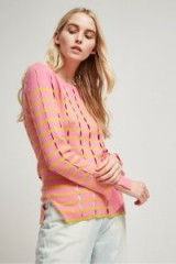 French Connection LATTICE KNIT CREW NECK JUMPER CHATEAU ROSE/CITRON – pink and yellow cut out jumpers