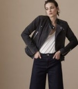 Reiss LAURIE SUEDE QUILTED JACKET CHARCOAL ~ collarless biker jackets