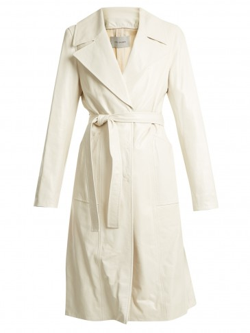 YVES SALOMON Off-White Leather tie-waist trench coat
