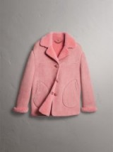 BURBERRY Leather Trim Shearling Oversized Jacket Copper Pink ~ luxe jackets