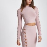 River Island Light pink cut out cropped long sleeve top – fitted stretch-knit crop tops