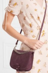 LITTLE LIFFNER Saddle Up small burgundy suede shoulder bag | chic crossbody