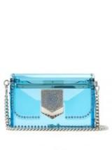 JIMMY CHOO Lockett Minaudiere Perspex cross-body bag ~ clear blue crossbody bags