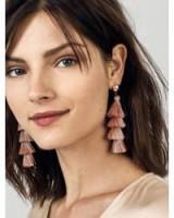 BAUBLEBAR GABRIELA STUD FRINGE DROPS ROSE | pink tasseled drop earrings | feminine statement jewellery