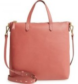 MADEWELL The Transport Leather Crossbody in Antique Rose | pink top handle bags