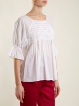 MERLETTE Mai Tai smocked cotton top ~ white gathered tops