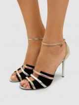 MALONE SOULIERS‎ Zola Metallic Leather And Suede Sandals ~ vintage style heels