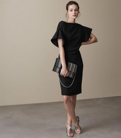 Reiss Manila Ruffle Sleeve Dress Black Chic Lbd Partycocktail