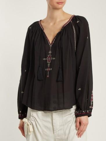 ISABEL MARANT ÉTOILE Melina black embroidered tassel-front cotton blouse ~ boho style blouses
