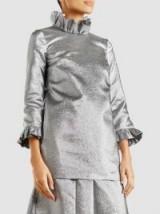 MERCHANT ARCHIVE Metallic Ruffle-Neck Blouse ~ silver blouses