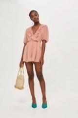 Topshop Metallic Wrap Playsuit | vintage style blush-pink playsuits
