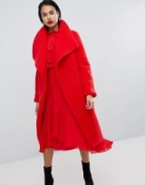 Missguided Waterfall Teddy Coat ~ red statement coats