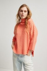 French Connection MONA MOZART KNIT OVERSIZED JUMPER CORAL SANDS – orange high neck textured jumpers