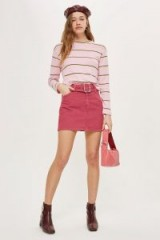 Topshop MOTO Buckle Cord Skirt   pink corduroy mini skirts