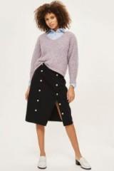 Topshop MOTO Button Split Midi Skirt   black slit skirts