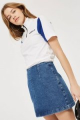 Topshop MOTO Denim A-line Skirt   blue mini skirts