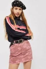 MOTO Pink Camouflage Denim Skirt | camo print mini skirts
