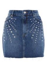 MOTO Studded Denim Mini Skirt   blue stud embellished skirts
