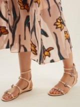 JIMMY CHOO Naia crystal-embellished rose-gold leather sandals ~ strappy metallic flats ~ luxe flat summer shoes
