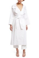 Norma Kamali DOLMAN 80S FLARED TRENCH | chic white spring coats