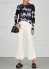 PROENZA SCHOULER Off white lace-trimmed cady trousers | cropped flares