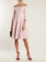 ALEXANDER MCQUEEN rose-pink off-the-shoulder matelassé fit and flare dress ~ luxe bardot dresses ~ feminine style