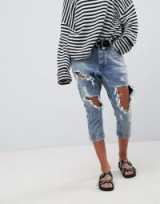 One Teaspoon Kingpins Cropped Boyfriend Jean With Extreme Distressing in Rocky | destroyed crop leg jeans