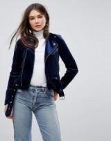 Only Blue Velvet Biker Jacket
