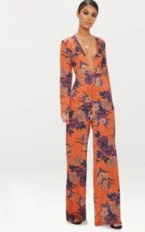 PRETTYLITTLETHING ORANGE FLORAL PRINT LONG SLEEVE PLUNGE JUMPSUIT | plunging neckline jumpsuits | going out fashion