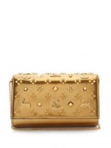 CHRISTIAN LOUBOUTIN Paloma metallic-gold embellished leather clutch ~ luxe bags