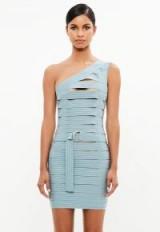 peace + love blue bandage one shoulder dress ~ luxe party dresses