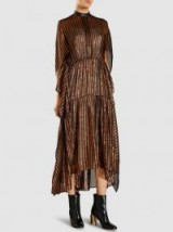 ‎PETAR PETROV‎ Damaris Leather-Trimmed Bronze Silk Lamé Midi Dress | metallic dresses