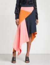 PETER PILOTTO Asymmetric contrast-panel high-rise crepe skirt   colour block skirts