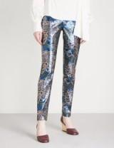 PETER PILOTTO Floral straight metallic-jacquard trousers | blue-metallic pants