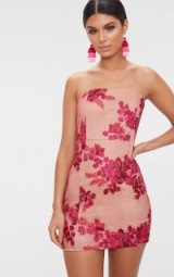 PRETTYLITTLETHING PINK BANDEAU EMBROIDERED LACE BODYCON DRESS | strapless party dresses