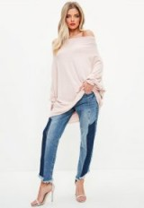 Missguided brushed bardot tunic top – oversized off the shoulder tops