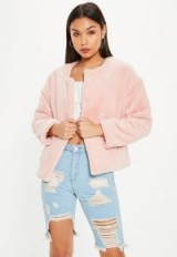 MISSGUIDED pink faux fur teddy cropped jacket – fluffy collarless jackets