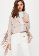 Missguided pink faux suede tassel biker jacket – light tone spring jackets