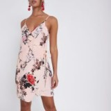 River Island Pink floral print wrap cami mini dress – strappy slip dresses