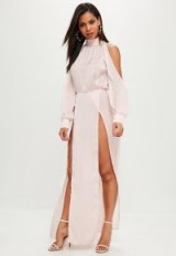 Missguided pink split front sleeve maxi dress – long length high neck party dresses – glamorous going out fashion