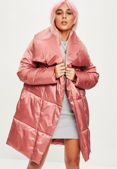 Missguided pink waterfall puffer jacket | shiny padded coats