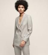 Reiss PIXIE JACKET PINSTRIPE DOUBLE-BREASTED BLAZER GREY / smart trouser suit jackets/blazers