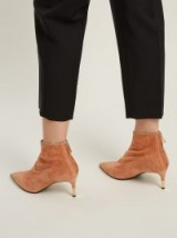 BALMAIN Point-toe nude suede ankle boots ~ gold-tone metal tip heels