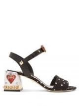 DOLCE & GABBANA Embellished block heel polka-dot print sandals