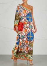 DOLCE & GABBANA Printed one-shoulder silk dress ~ chic holiday evening wear