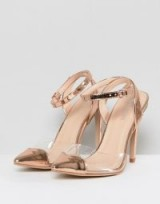 Public Desire Heart Throb Rose Gold Clear Detail Court Shoes Rose gold/perspex – metallic party heels