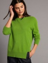 AUTOGRAPH Pure Cashmere Step Hem Round Neck Jumper / luxury green jumpers / M&S knitwear / Marks and Spencer sweaters