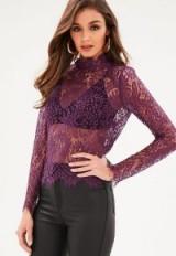 Missguided purple high neck eyelash soft lace blouse – sheer blouses